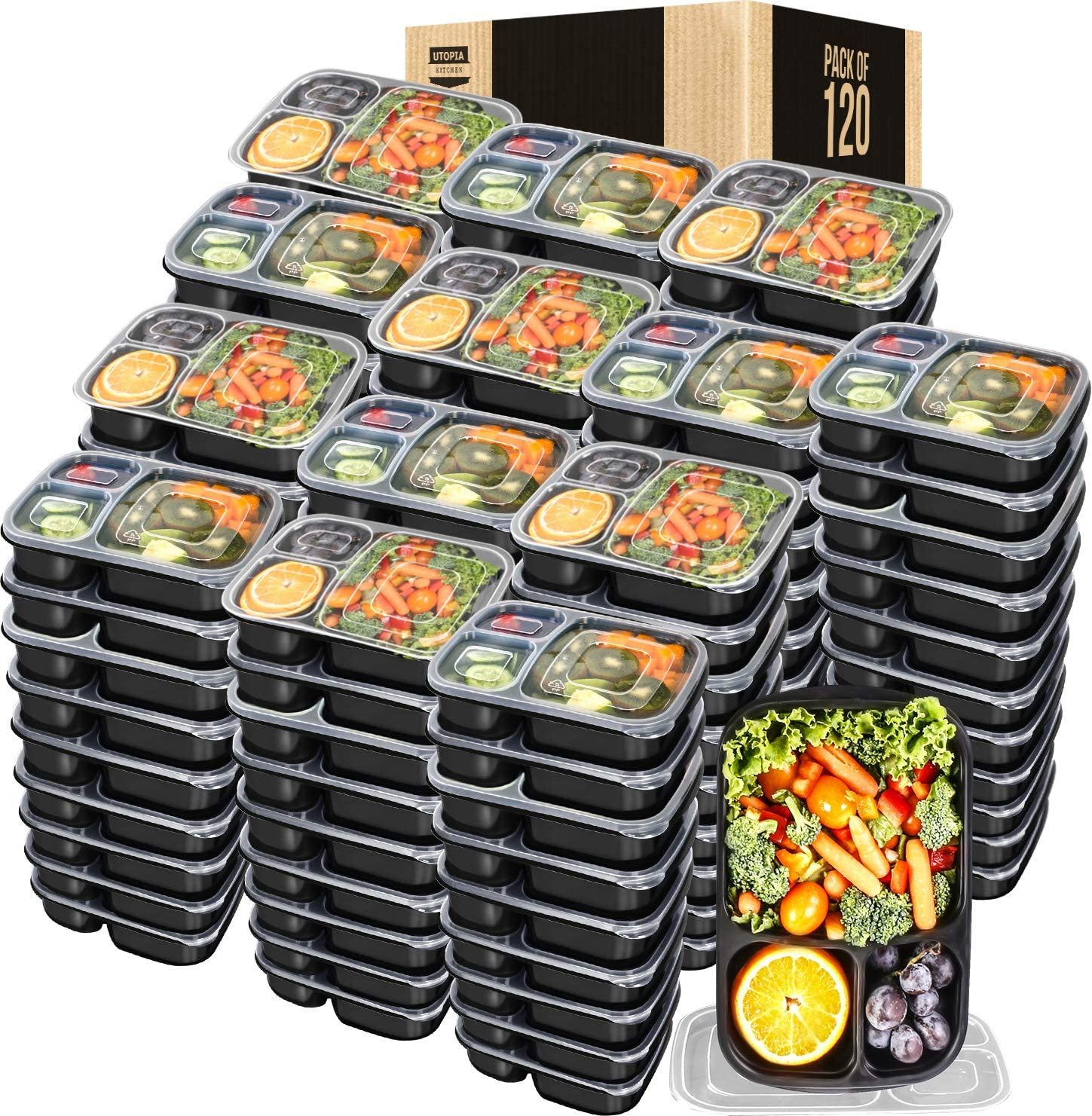 Utopia Kitchen 32 Oz. 3-Compartment Food Storage Container Pack with Lid (Bulk Pack of 120)