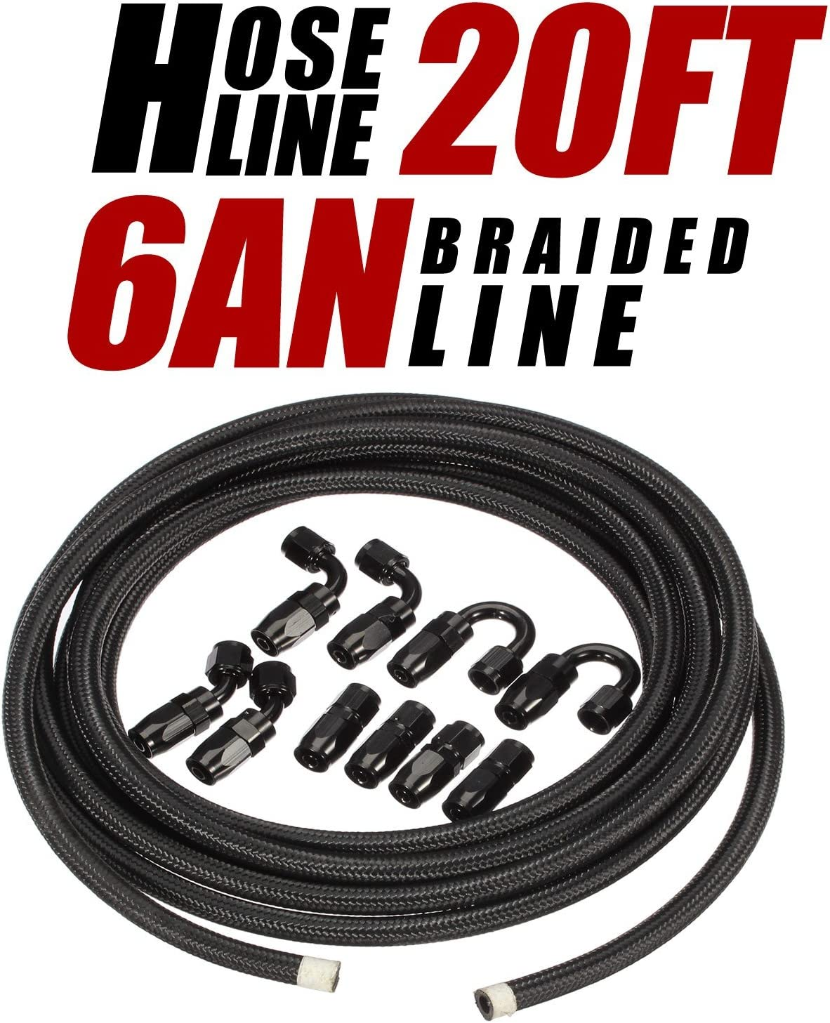 Vincos 20Ft 6 an 6an AN6 Nylon and Stainless Steel Braided Oil Gas Fuel Hose Fuel Line 10pcs 6an Hose Fitting Kit