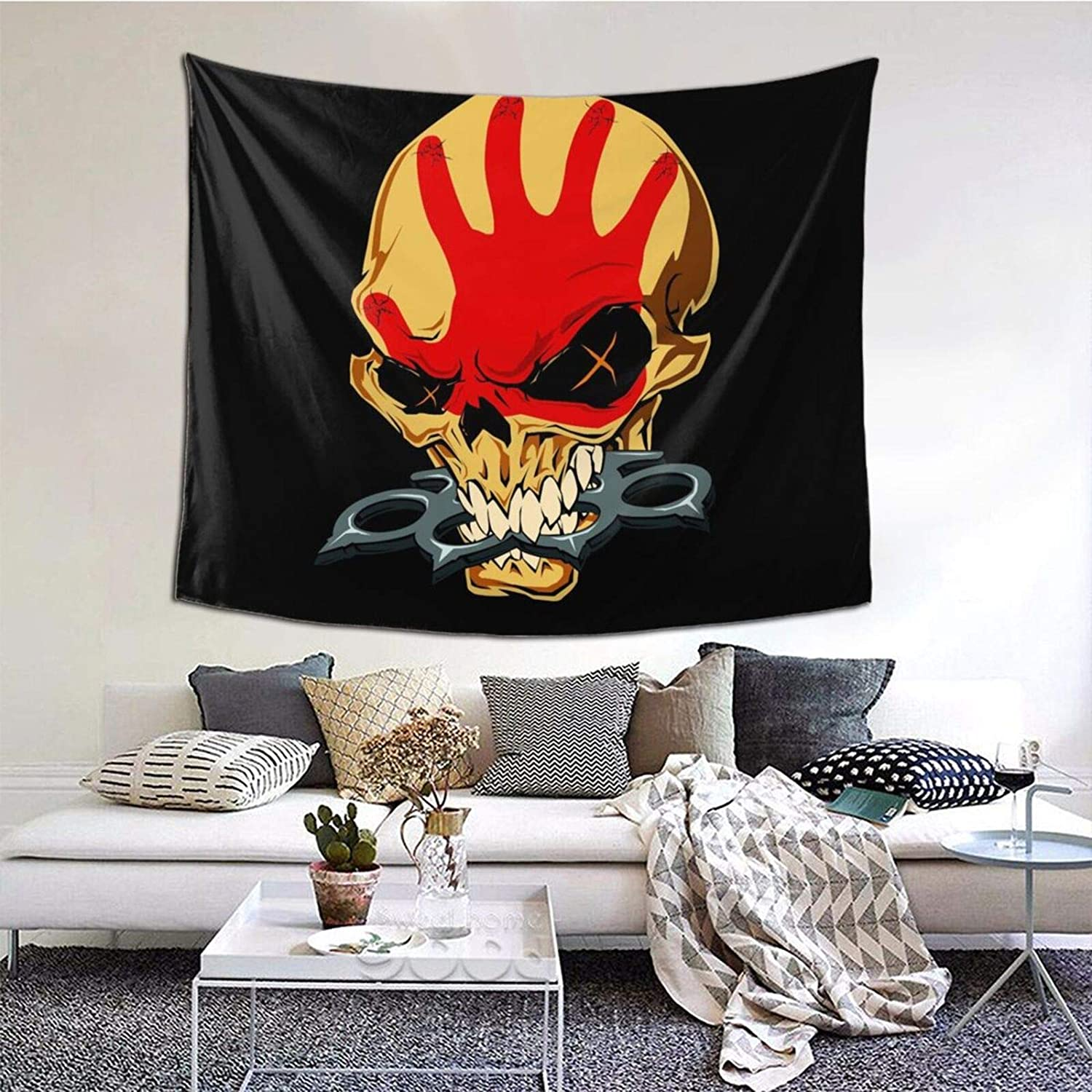 Zulfdli Five Finger Death Punch Tapestry Wall Hanging Home Decorations Machine Washable Tapestries for Outdoor Indoor Bedroom Living Room Dorm Decor 60x51 Inch