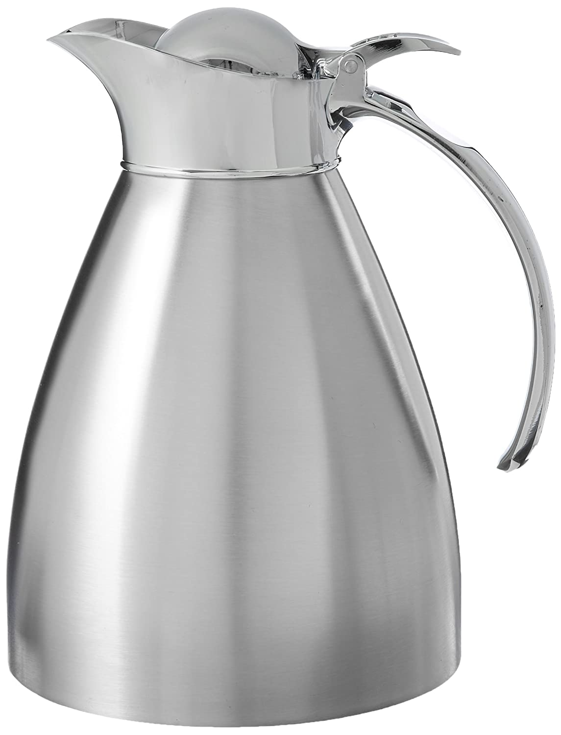 Service Ideas 98110BS Stainless Lined Vacuum Insulated Carafe with Stopper Lid, 1 Liter (33.8 oz.), Brushed Stainless/Mirrored Accents 98210BS