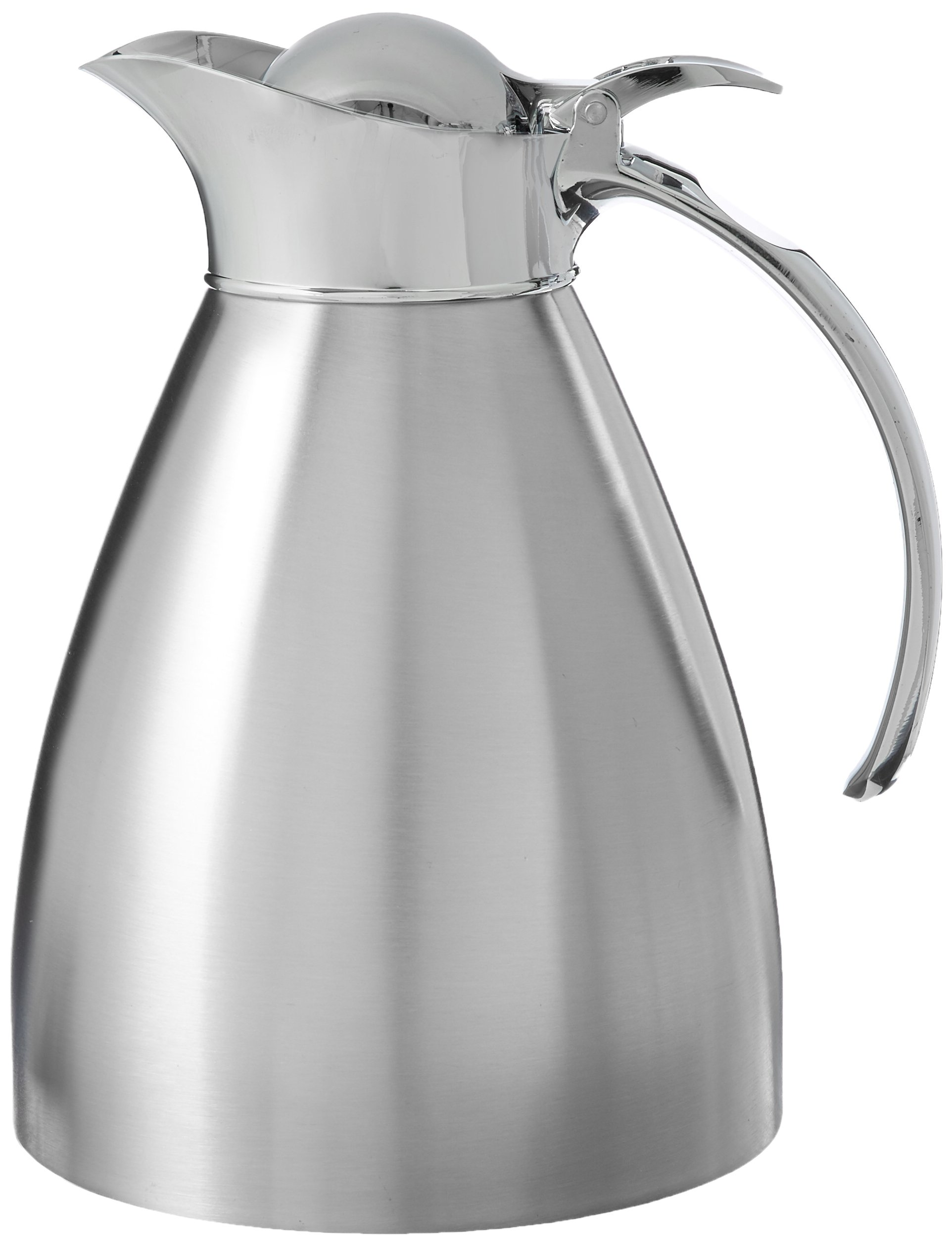 Service Ideas 98110BS Stainless Lined Vacuum Insulated Carafe with Stopper Lid, 1 Liter (33.8 oz.), Brushed Stainless/Mirrored Accents