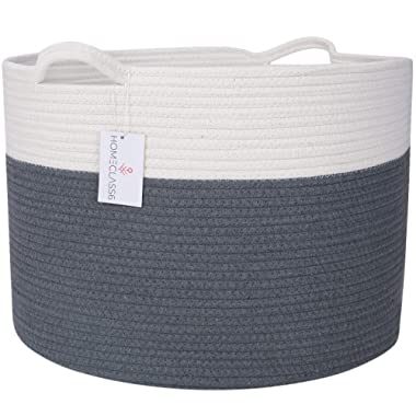 """XXL Cotton Rope Woven Blanket Basket 20"""" x 20"""" x 13.3"""" - Extra Large Laundry Baskets with Handles for Blankets, Baby Toys, Pillows & Living Room - Decorative Storage Hamper (Graphite)"""