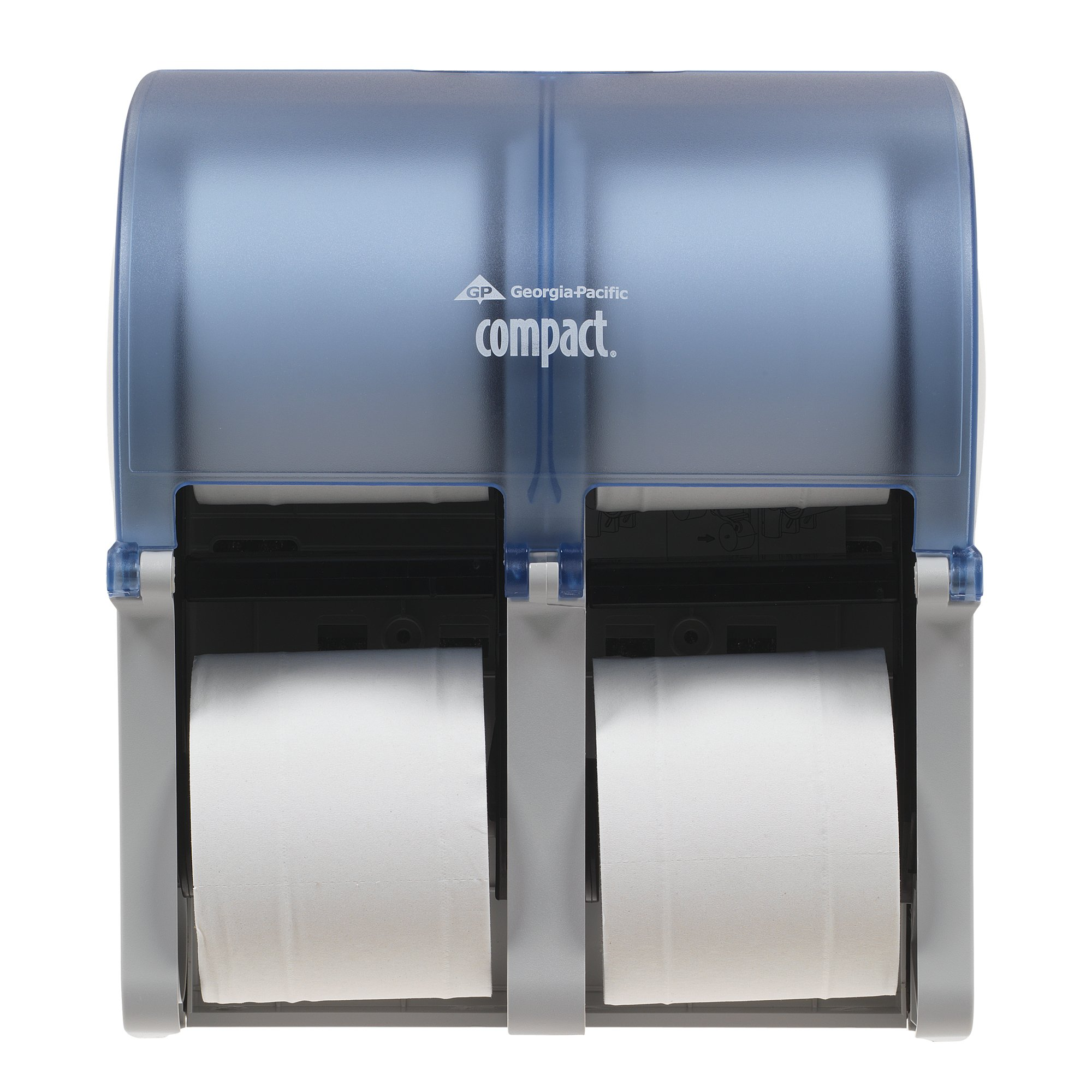Georgia-Pacific Compact Quad 56743 Splash Blue Vertical Four Roll Coreless Tissue Dispenser (1 Each)