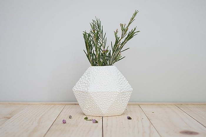 Amazon Geometric Ceramic Short Bud Vase With White Crawl Glaze