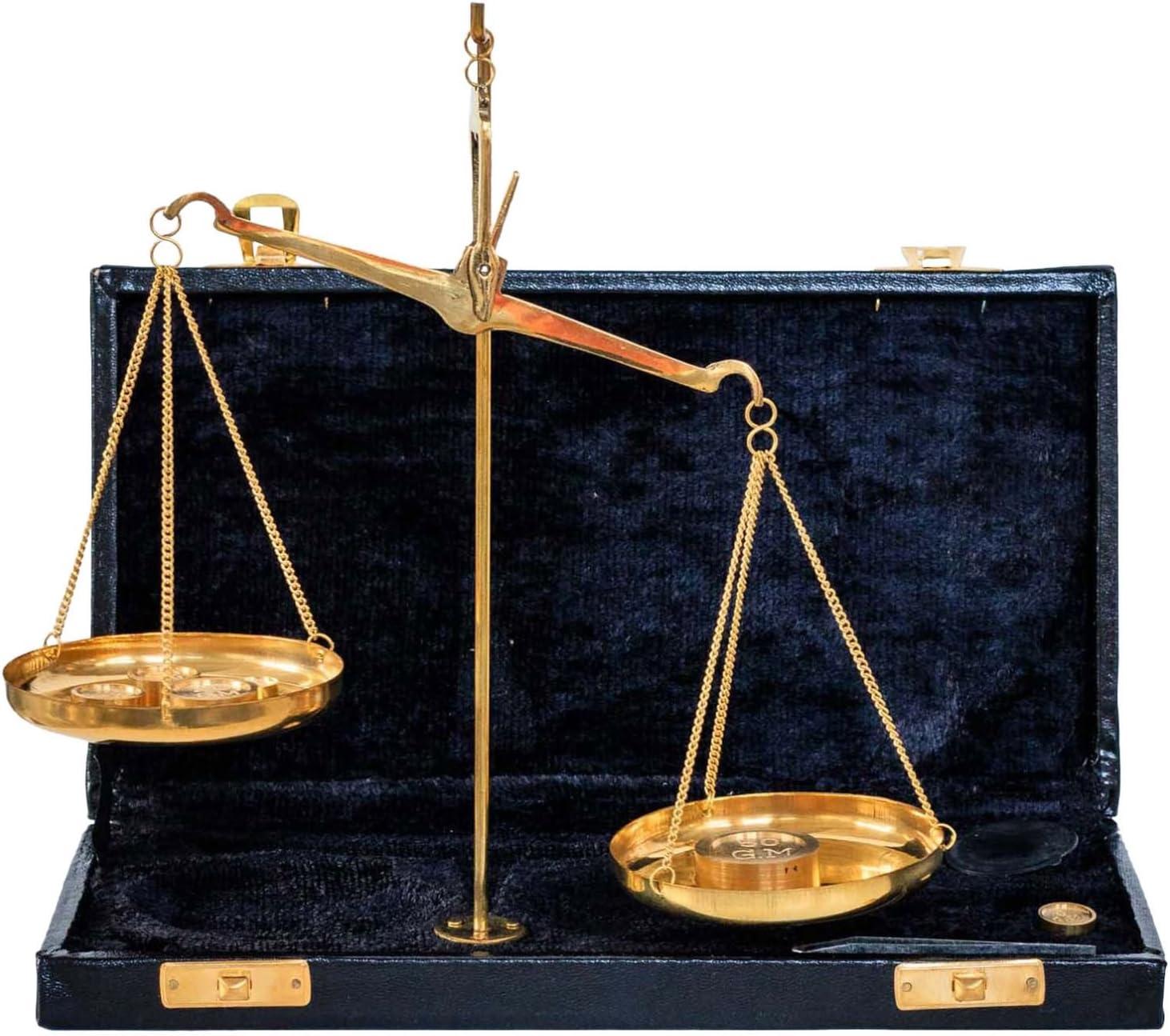 Aubaho Balanza de Farmacia latón balanza para oroestilo Estuche Antiguo 22cm: Amazon.es