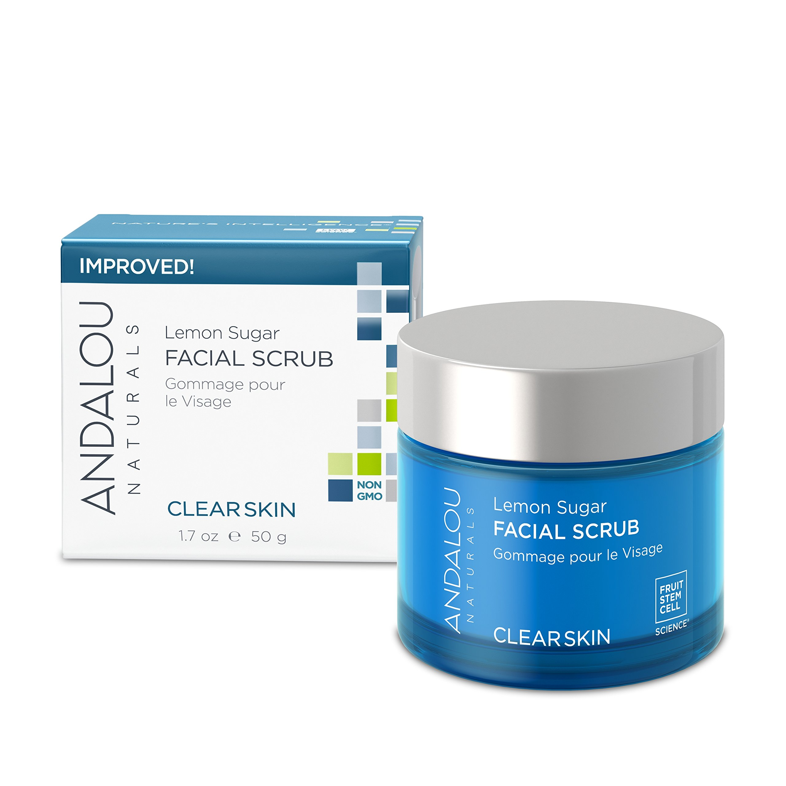 Andalou Naturals Lemon Sugar Facial Scrub, 1.7 oz, Gently Exfoliates and Cleanses for a Clearer, Brighter, and Balanced Looking Complexion, with Meyer Lemons and Manuka Honey