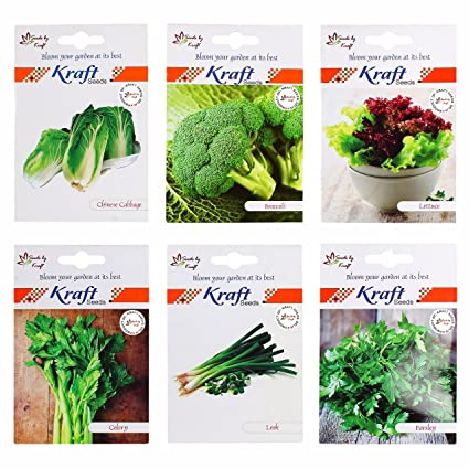 Kraft Seeds English Vegetables Seeds Combo Broccoli ,Celery ,Parsley ,Lettuce , Chinese Cabbage,Leek ,Each Pack 50 Seeds