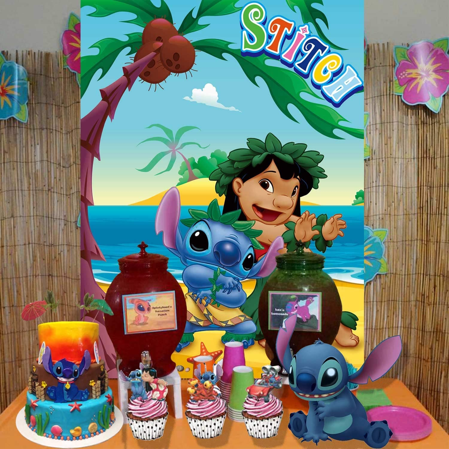Amazon Com Stitch Backdrop Lilo And Stitch Party Decorations Birthday Baby Shower Tropical Background Photography Banner Camera Photo