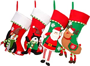 """MOSTOP 4 Pack 17"""" Christmas Stockings, Big Size Rustic Stockings Embroidered with 3D Vivid Patterns Santa Reindeer Bear Penguins for Family Holiday Party Decor Xmas Seasonal Decor"""
