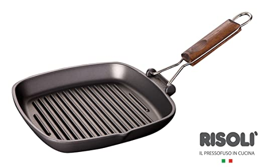 2 opinioni per Risoli Saporella Bistecchiera Antiaderente, Alluminio, Nero, 23x23x5 cm