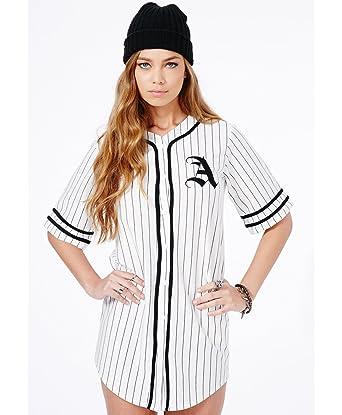 53ae0b37 Womens Paris Oversized A Baseball Shirt Dress In White - White - 6 ...