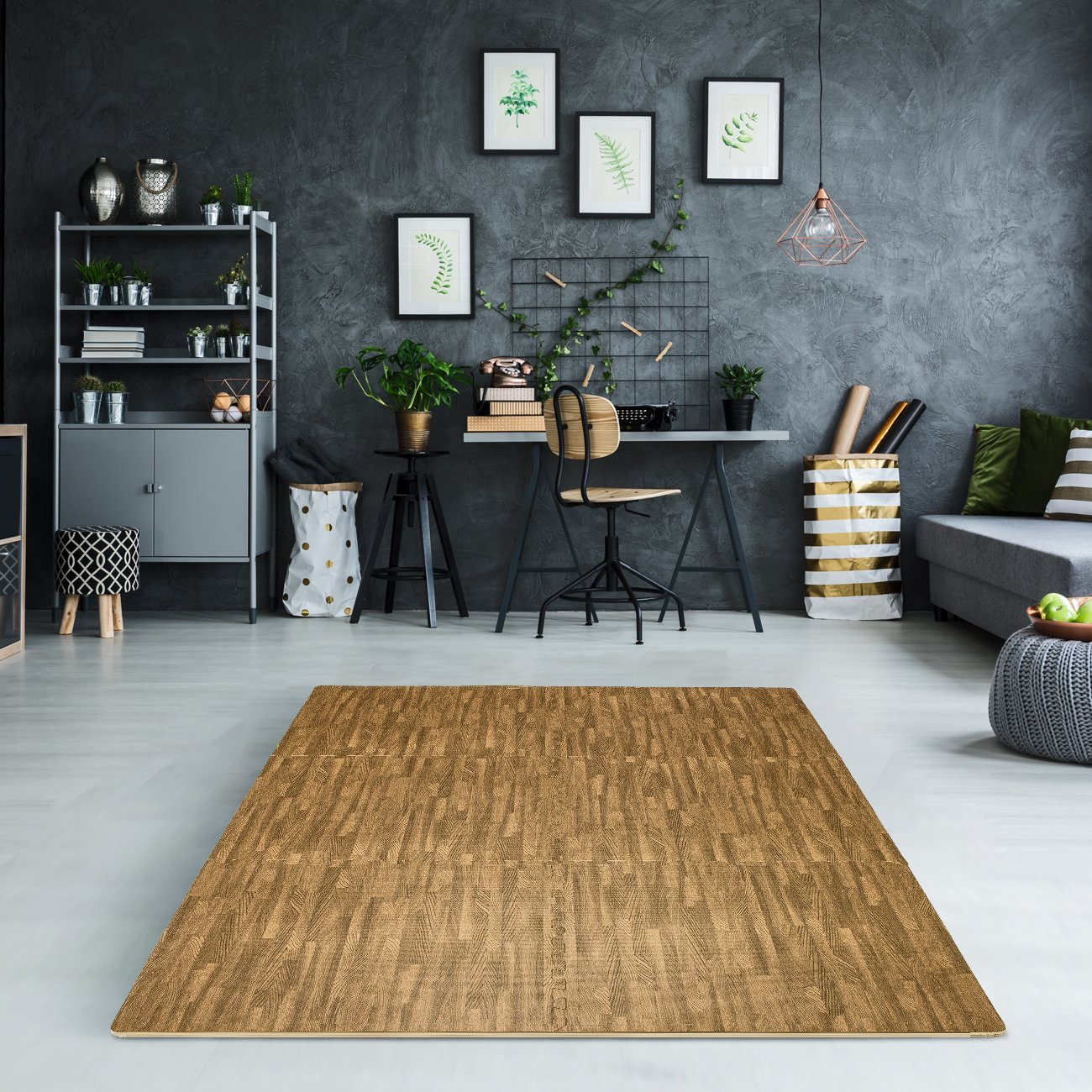 Sorbus Interlocking Floor Mat Print, Wood Grain - Light (6-Piece) by Sorbus (Image #3)