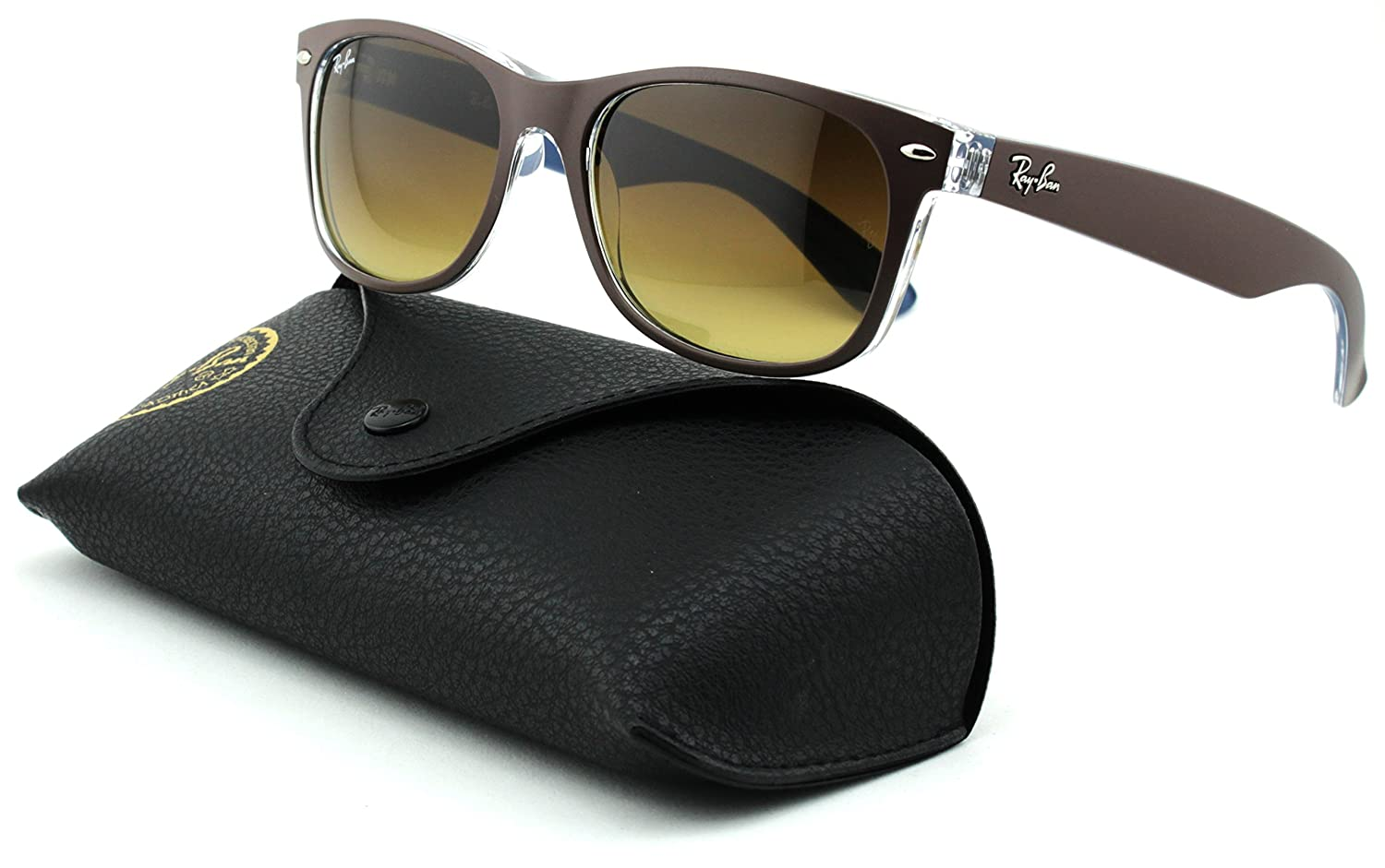 5d8288dd2 Amazon.com: Ray-Ban RB2132 New Wayfarer Gradient Unisex Sunglasses (Matte  Chocolate on Blue/Light Brown Gradient Dark Brown 618985, 52): Clothing