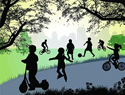 Preschool Daycare Mural Kids Playing With Ball Riding Bikes In The