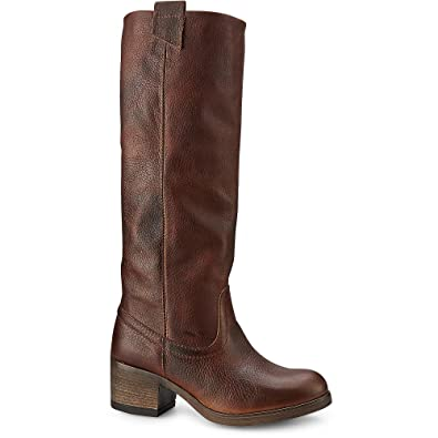 low priced 9348c 385dd Cox Damen Damen Gaucho Stiefel, braune Leder Boots mit extra weitem Schaft  und Anziehschlaufen
