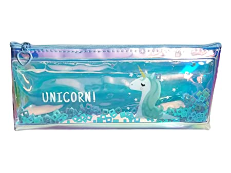 Arishto Unicorn Multipurpose Holographic Pencil Pouch/Case with filled Sequin Water for Kids…