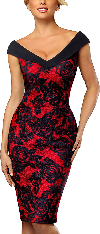 HOMEYEE Femmes /él/égant col V sans Manches Vintage Rose Floral Cocktail Dress B425