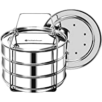 EasyShopForEveryone Stackable Steamer Insert Pans with 2 Lids, Cook 3 Dishes at a time, Compatible with 6qt Instant Pot…