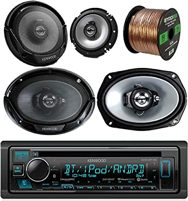 Kenwood Car CD MP3 Receiver with Bluetooth AM FM Radio Player Bundle 2 6×9 Speakers, 2 6.5 Inch Speakers, Enrock 50 Ft 16g Speaker Wire Built in Amp