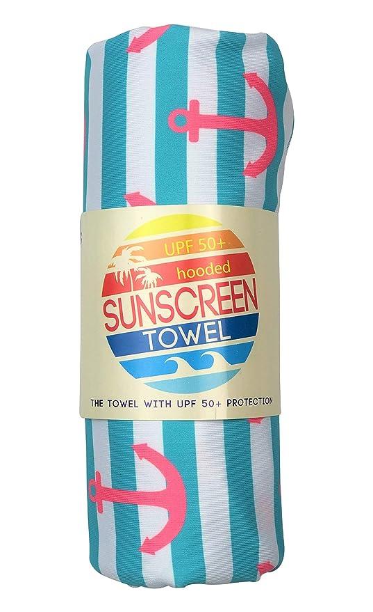 Navy Stripes Sunscreen Towel with Hood Luv Bug Company UPF 50