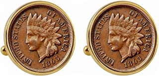 product image for 1800's Indian Penny Goldtone Bezel Coin Cuff Links | United States Coins | Men's Cufflinks | Over 100 Years Old