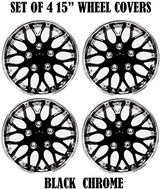 Amazon Com Hs 45579 Black 15 Premium Quality Hubcap Pack Of 4