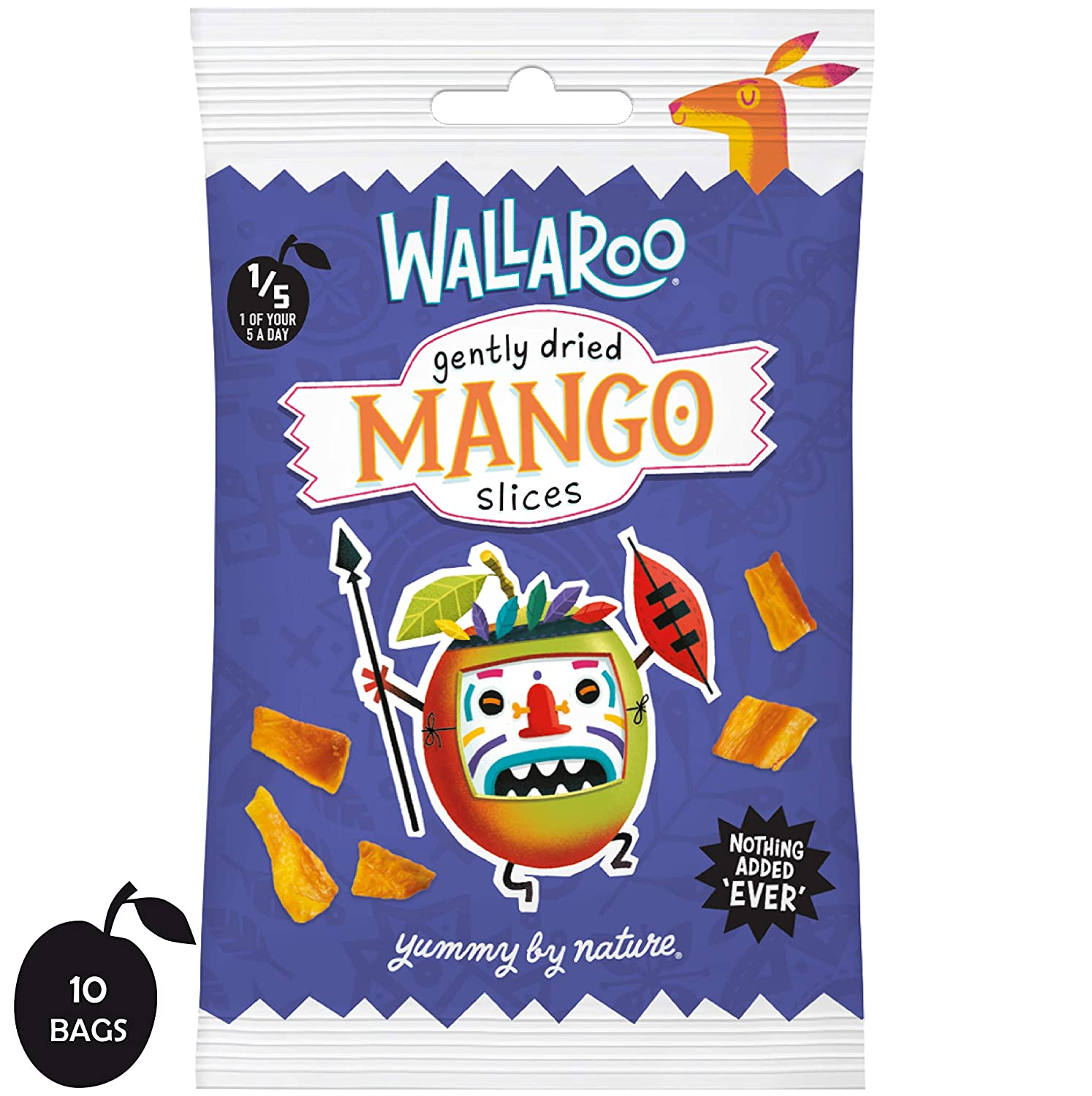 Wallaroo Gently Dried Mango Slices, 100% Mango Fruit Snack, No Sugar or Preservatives, Home Compostable Portion Sized Packs, Box of 10 x 30g Wallaroo Foods Ltd UKMNGBX300