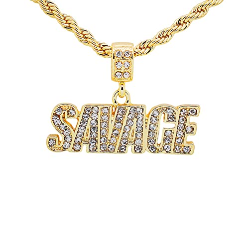 10mm 14k Gold Cz G Link Chain Hip Hop Jewelry King Ice >> Yellow Gold Tone Hip Hop Bling Pave Stones Savage Letter Pendant With 24 Rope Chain