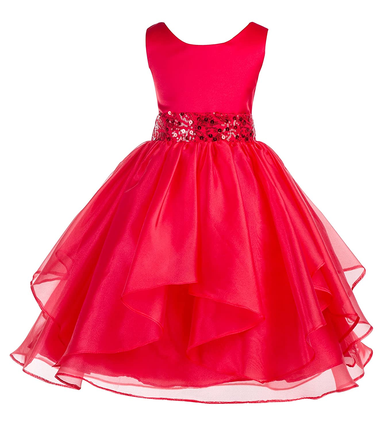 ekidsbridal Asymmetric Ruffled Organza Sequin Flower Girl Dress Christening Dresses 012S