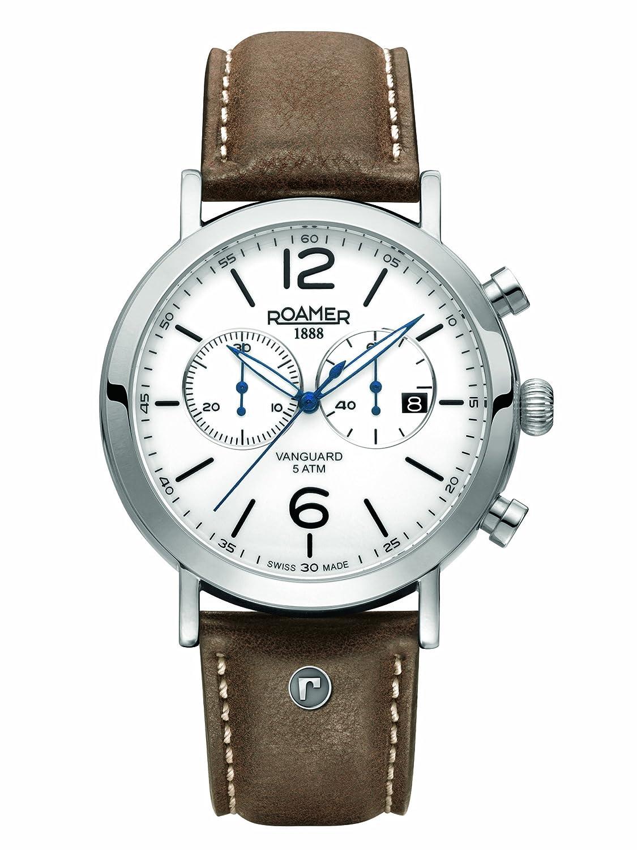 Roamer Herren-Armbanduhr Vanguard Chronograph Quarz Leder 935951 SL1