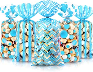 105 Pieces Baby Shower Cellophane Treat Bags, Polka Dot Stripes Chevron Printed Pattern Plastic Goodie Candy Bags with 100 Silver Twist Ties for Christmas New Year Birthday Party Decorations(blue)