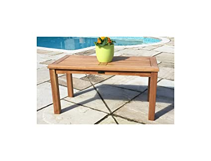 Sustainable Furniture Teak Garden Coffee Table Rectangular Brown