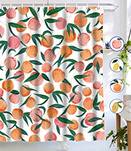 "Lifeel Peach Shower Curtains, Allover Fruits Shower Curtain Cute Bright Colorful Design Waterproof Fabric Bathroom Shower Curtain Set with 12 Hooks, Peachy Pink 72""×72"""