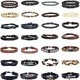 Magitaco 30 PCS Braided Leather Bracelets for Men Cuff Wrap Bracelet Wood Beads Bracelet Adjustable