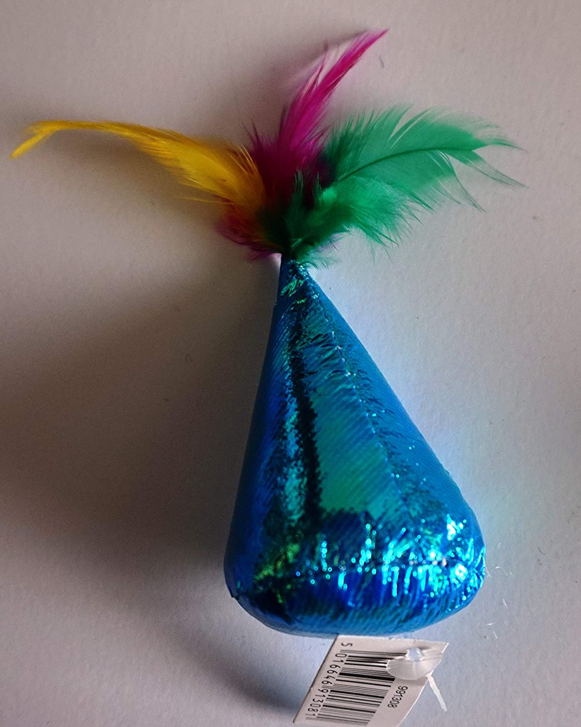 Ancol 17M BRIGHT LIGHTWEIGHT PARTY HAT CAT TOYS WITH FEATHERS CAT KITTEN MOUSE X 1 COLOUR CHOSEN AT RANDOM