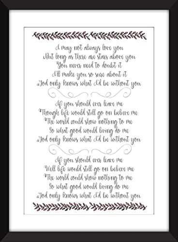 Personalised Framed Lyrics Valentines Day Gift The Beach Boys God Only Knows