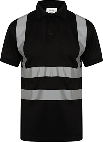 cinta reflectante de seguridad HuntaDeal Hi Viz VIS bot/ón de seguridad talla grande ligero 2 tonos transpirable doble cinta EN ISO 20471 ropa de trabajo Polo de alta visibilidad