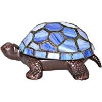 2.5″ Stained Glass LED Cordless Turtle Accent Lamp - Blue