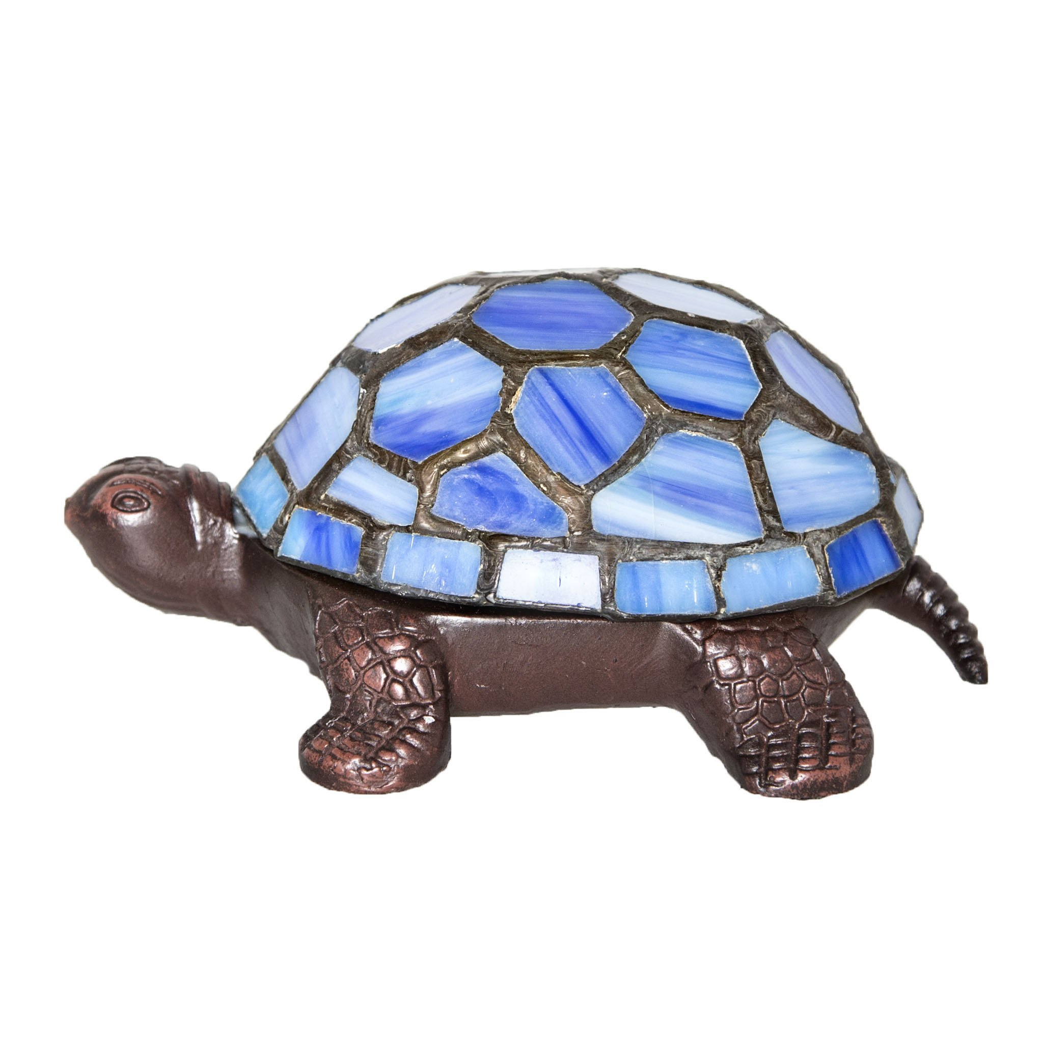 2.5'' Stained Glass LED Cordless Turtle Accent Lamp - Blue