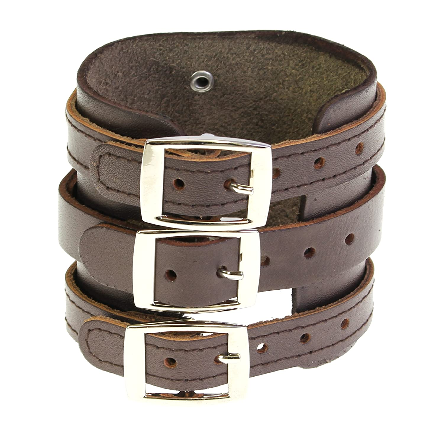 Neptune Giftware Leather Wide Triple Strap Cuff Wrap Gothic Wristband Buckle Fastening