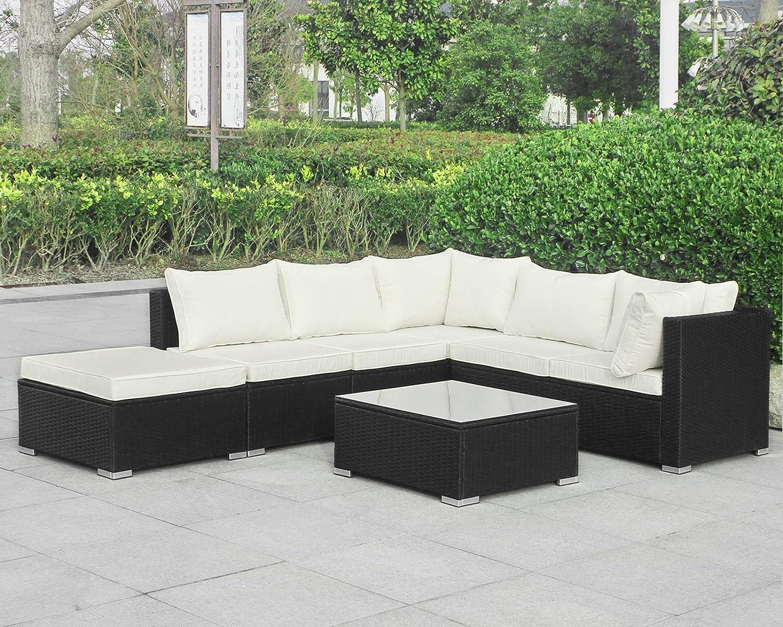 Enjoy Fit Gartenmöbel Rattan Polyrattan Lounge Sitzgruppe Garnitur aus Sessel Sofa Hocker Tisch mit Glas, Modell: Rhodos