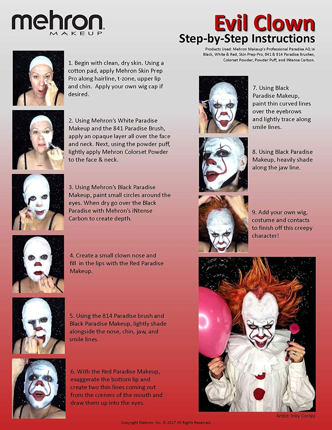 Amazon Com Evil Clown Halloween Makeup Kit Professional Costume Cosmetics For A Creepy It Inspired Look Dress Up Like Pennywise With Pro Quality Paint And Brushes By Mehron Beauty