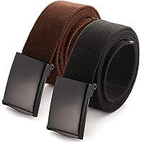 """Mile High Life Cinturón de cintura ajustable hasta 52""""con hebilla militar negra sólida (16 colores y opciones de…"""