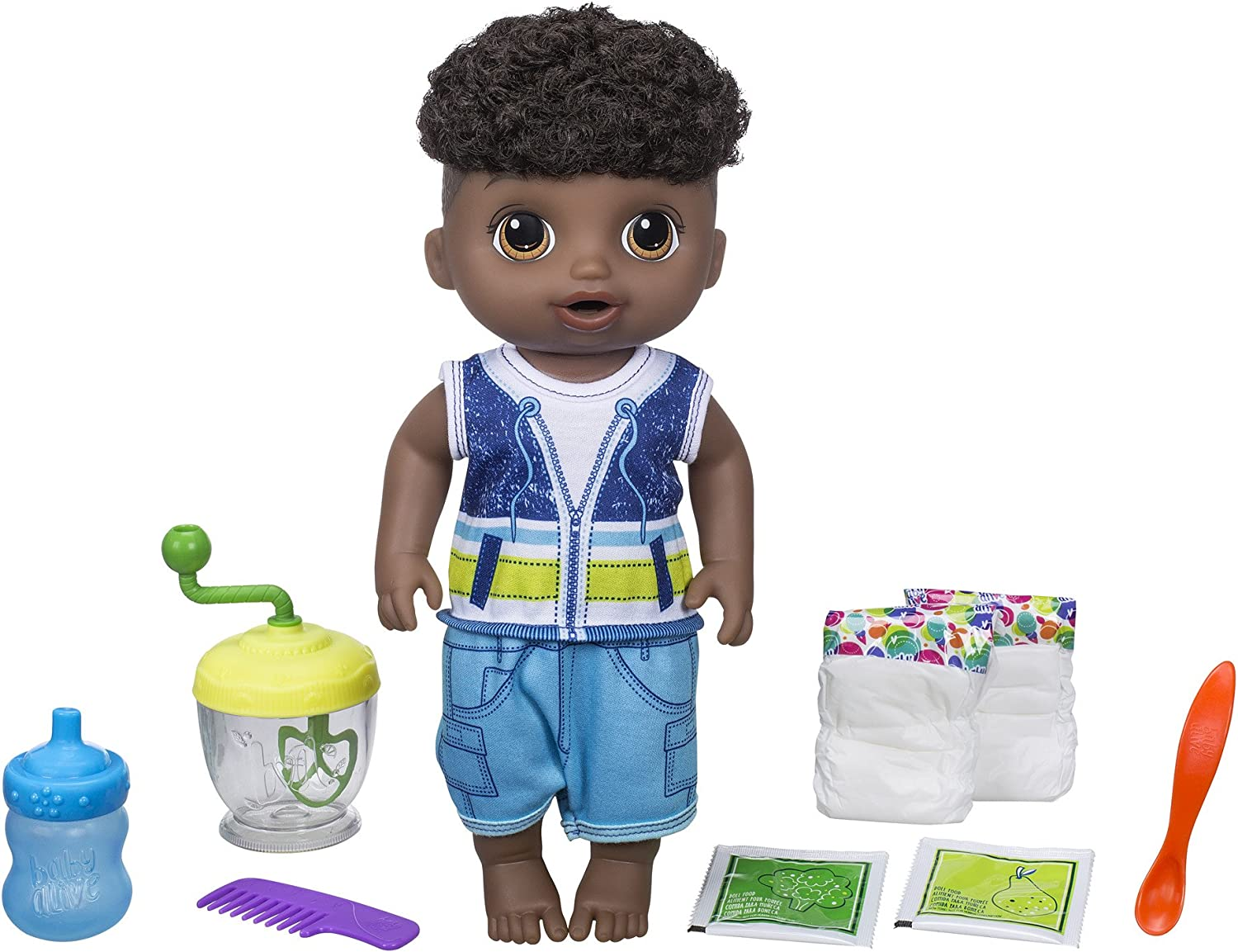 Amazon Com Baby Alive Sweet Spoonfuls Baby Doll Boy Black Hair Toys Games