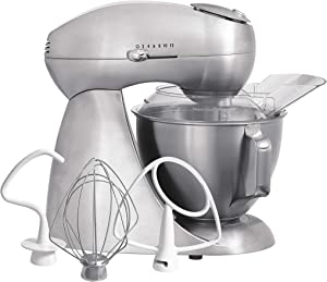 Hamilton Beach Eclectrics All-Metal 12-Speed Electric Stand Mixer, Tilt-Head, 4.5 Quarts, Pouring Shield, Sterling (63220)