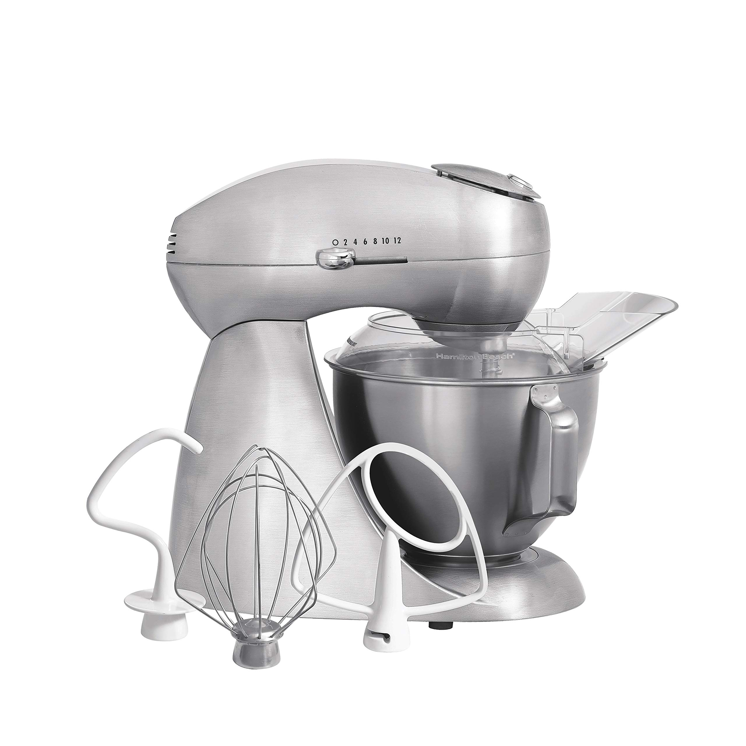 Hamilton Beach Eclectrics All-Metal 12-Speed Electric Stand Mixer, Tilt-Head, 4.5 Quarts, Pouring Shield, Sterling (63220) by Hamilton Beach