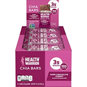 Health Warrior Chia Bars, Dark Chocolate Cherry, Gluten Free, 25g bars, 15 Count