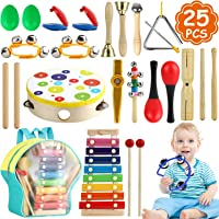 Tobeape Musical Percussion Instrument Set, 25 Pcs Toddler Musical Education Instruments Toys Wooden Percussion Toys and…