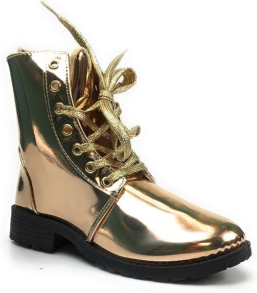 sneakers for cheap f461b a8875 Amazon.com | Yoki Woman's Metallic Combat Boots Topic-265 (7 ...