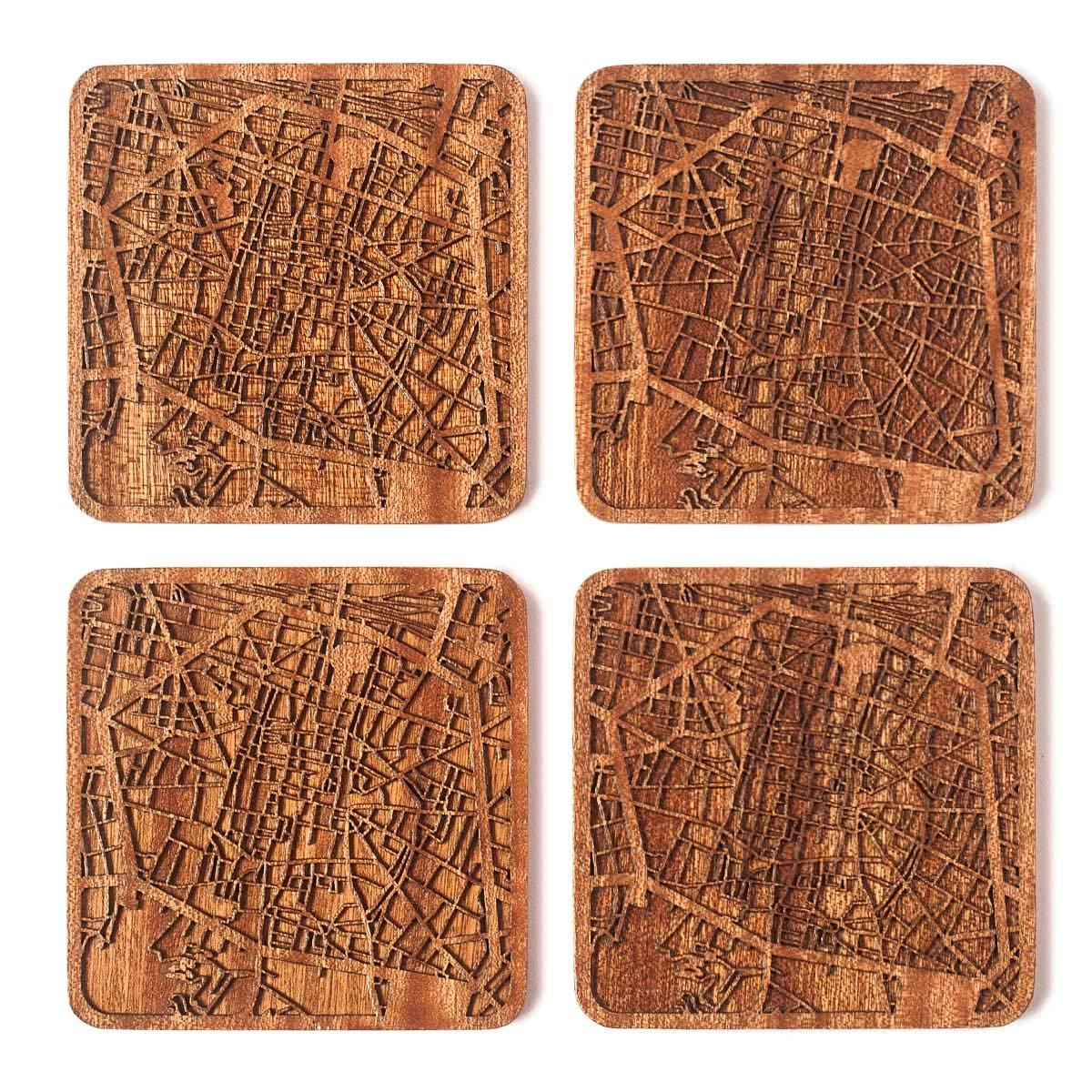 Bologna Map Coaster, Set of 4, Sapele Wooden